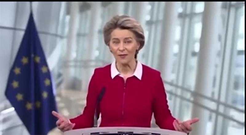 Eu-P>räsidentin <Ursila von der <leyen sreen <linde Arndt